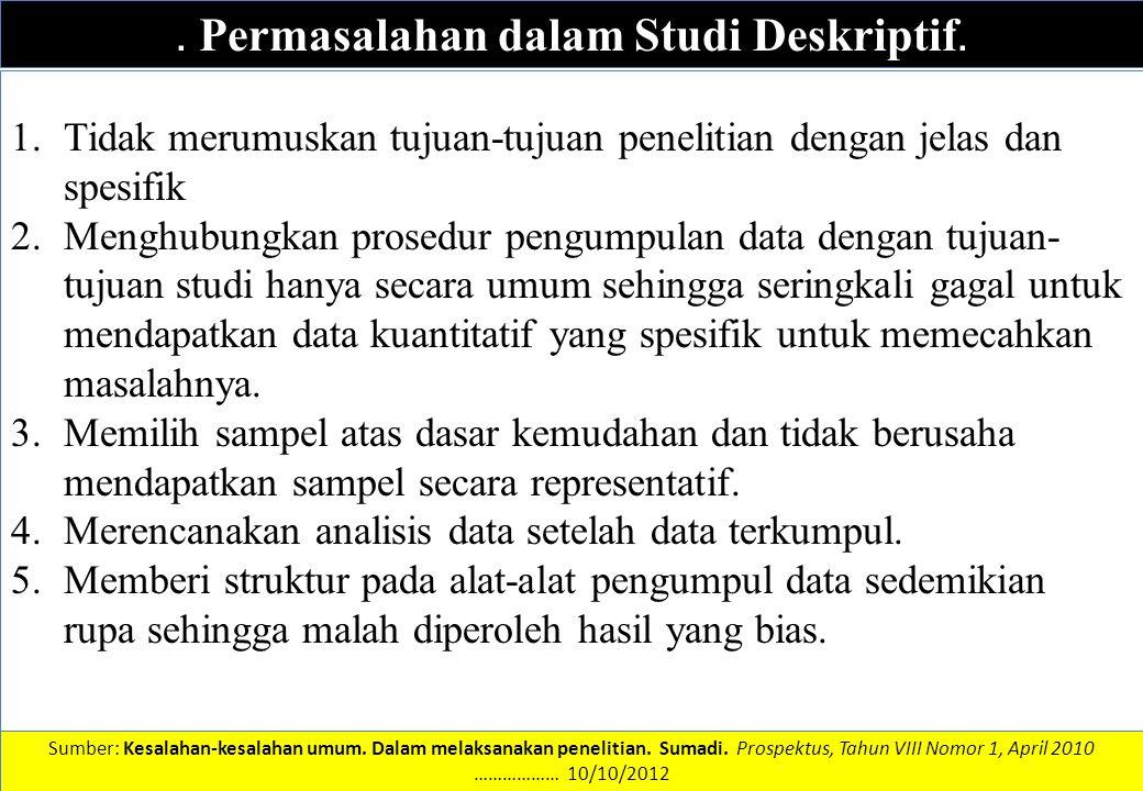 . Permasalahan dalam Studi Deskriptif.