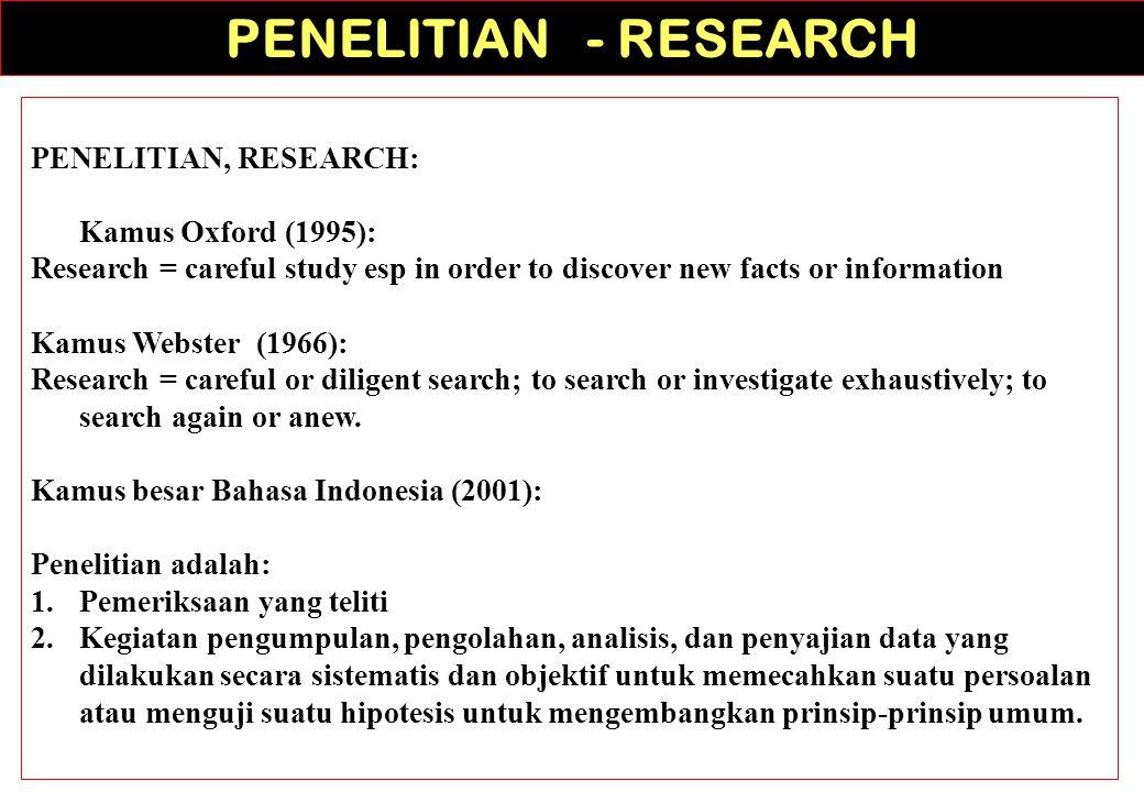 PENELITIAN - RESEARCH PENELITIAN, RESEARCH: Kamus Oxford (1995):