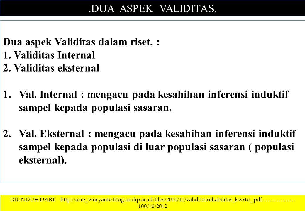 Dua aspek Validitas dalam riset. : 1. Validitas Internal