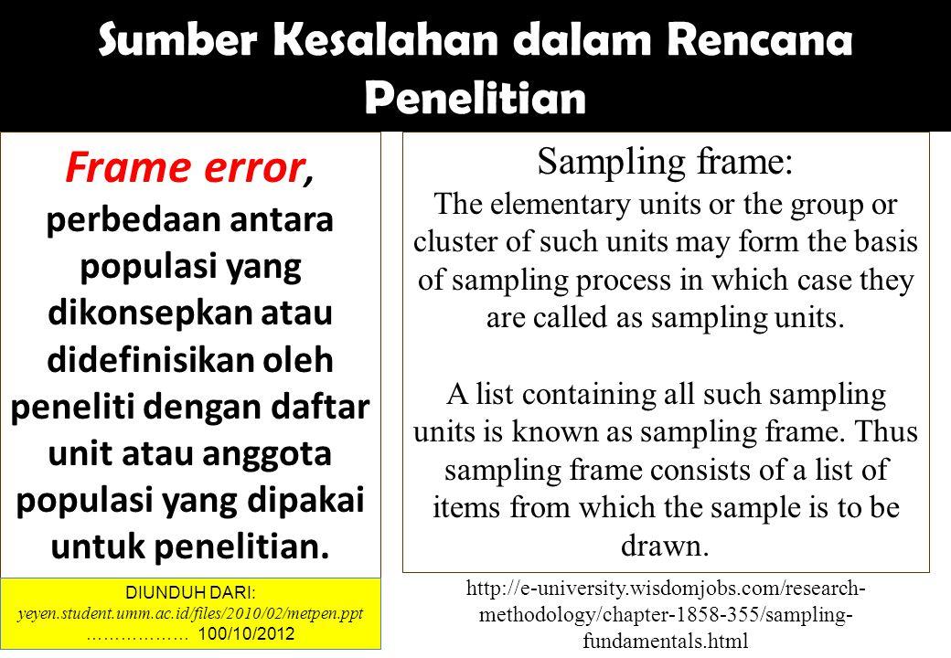 Sumber Kesalahan dalam Rencana Penelitian