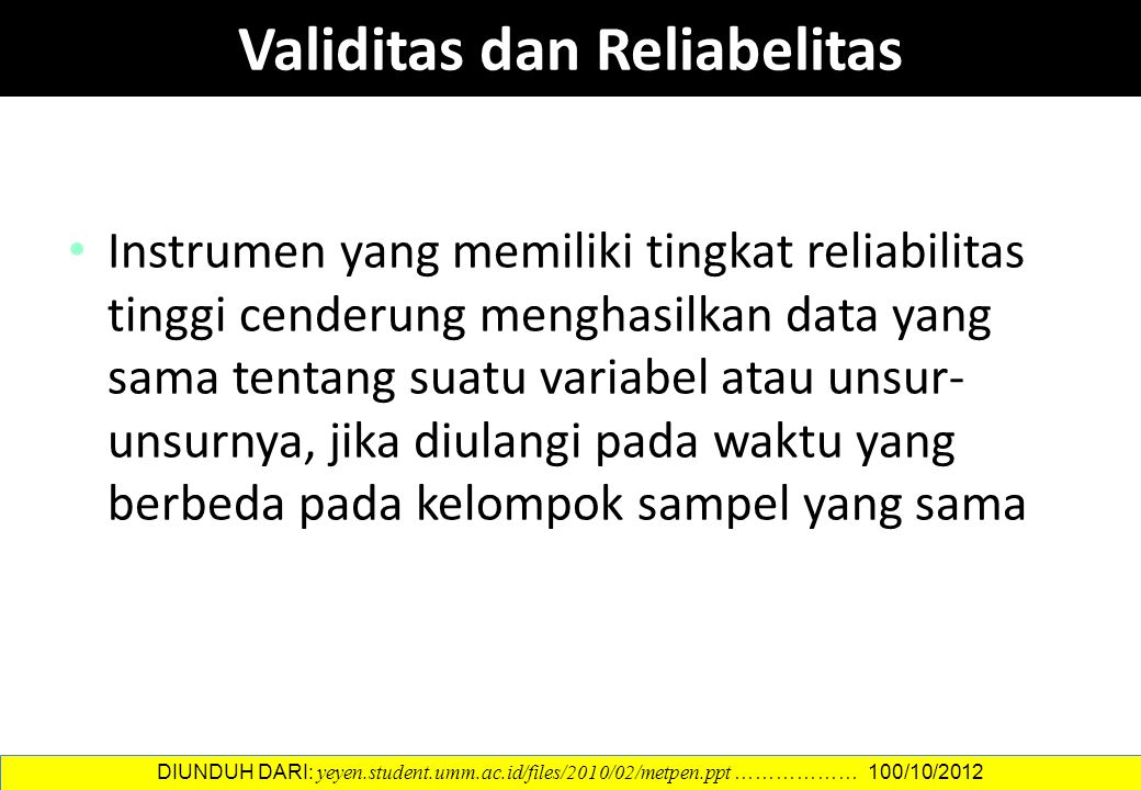 Validitas dan Reliabelitas