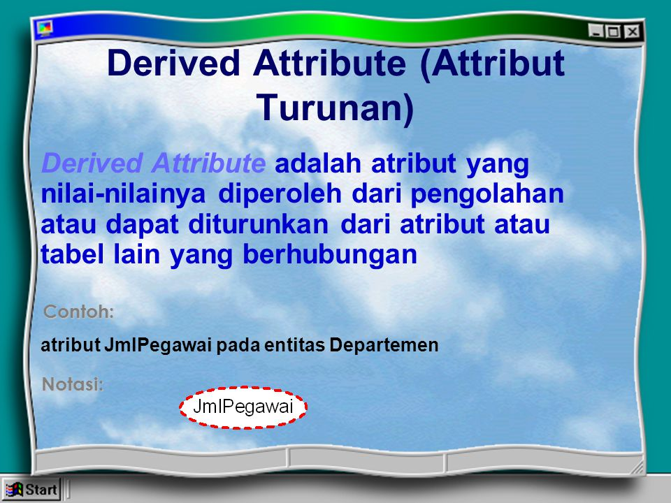Derived Attribute (Attribut Turunan)