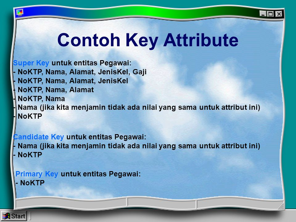 Contoh Key Attribute