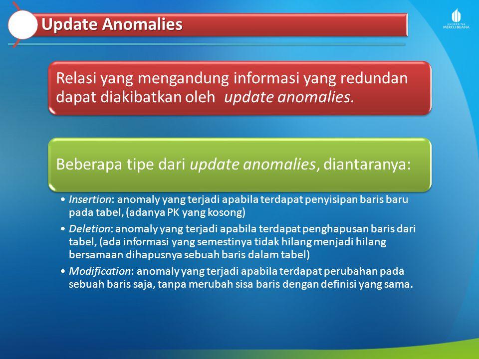 Update Anomalies Relasi yang mengandung informasi yang redundan dapat diakibatkan oleh update anomalies.
