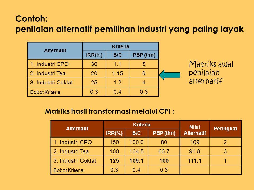 Contoh: penilaian alternatif pemilihan industri yang paling layak