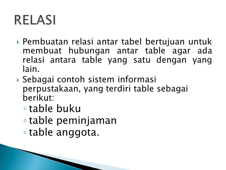 RELASI table buku table peminjaman table anggota.