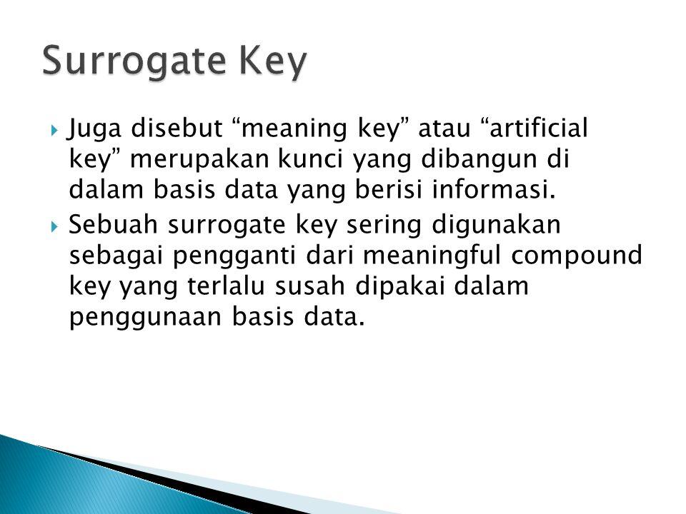 Surrogate Key Juga disebut meaning key atau artificial key merupakan kunci yang dibangun di dalam basis data yang berisi informasi.