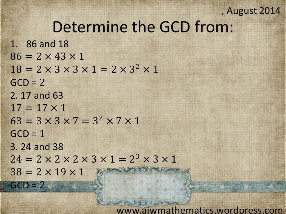 Determine the GCD from: