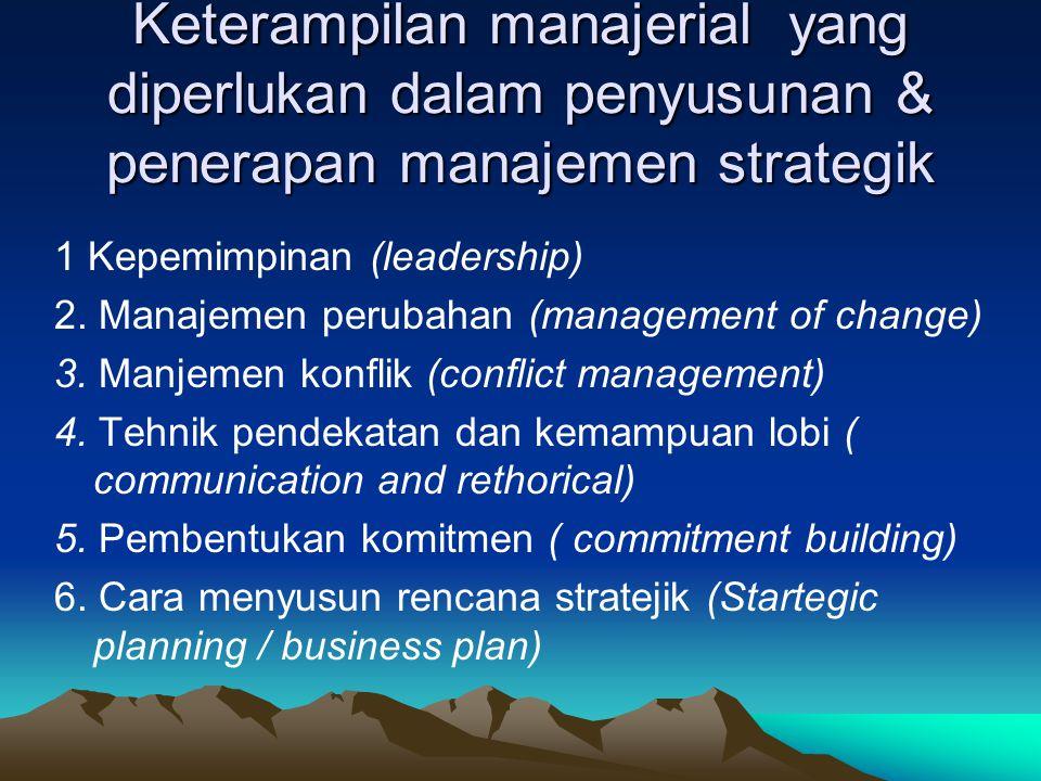 Keterampilan manajerial yang diperlukan dalam penyusunan & penerapan manajemen strategik