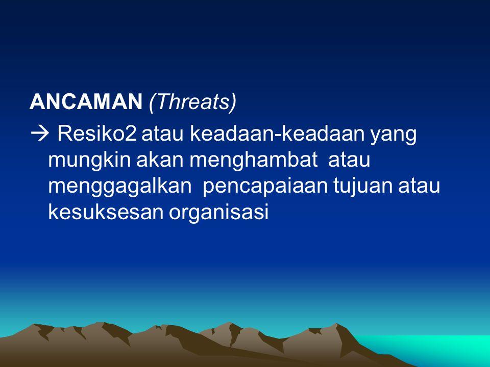 ANCAMAN (Threats)  Resiko2 atau keadaan-keadaan yang mungkin akan menghambat atau menggagalkan pencapaiaan tujuan atau kesuksesan organisasi.