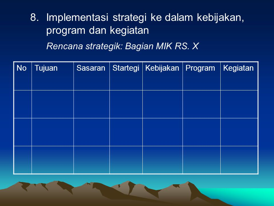 Implementasi strategi ke dalam kebijakan, program dan kegiatan
