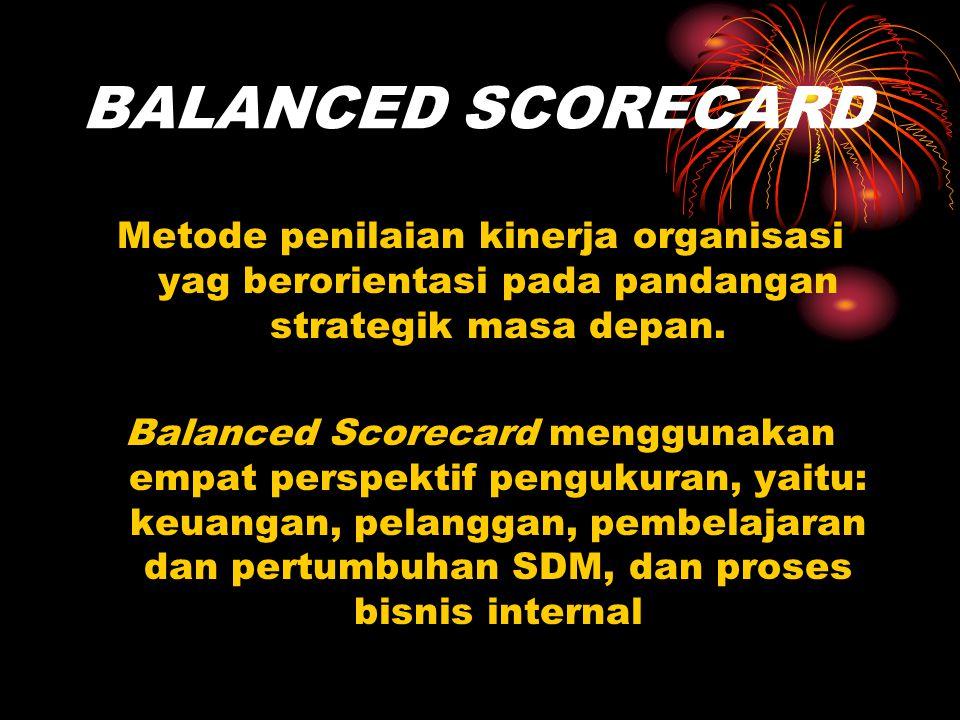BALANCED SCORECARD Metode penilaian kinerja organisasi yag berorientasi pada pandangan strategik masa depan.