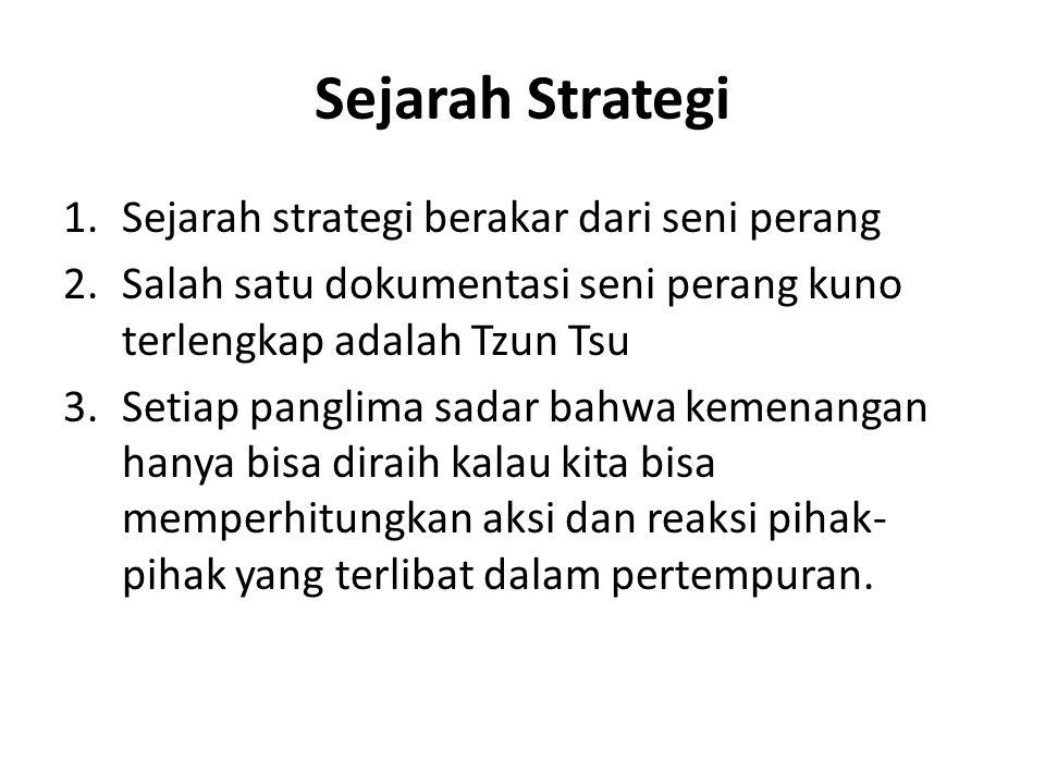 Sejarah Strategi Sejarah strategi berakar dari seni perang