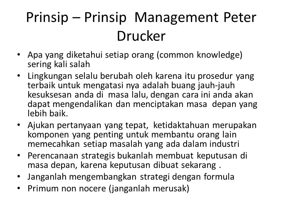 Prinsip – Prinsip Management Peter Drucker