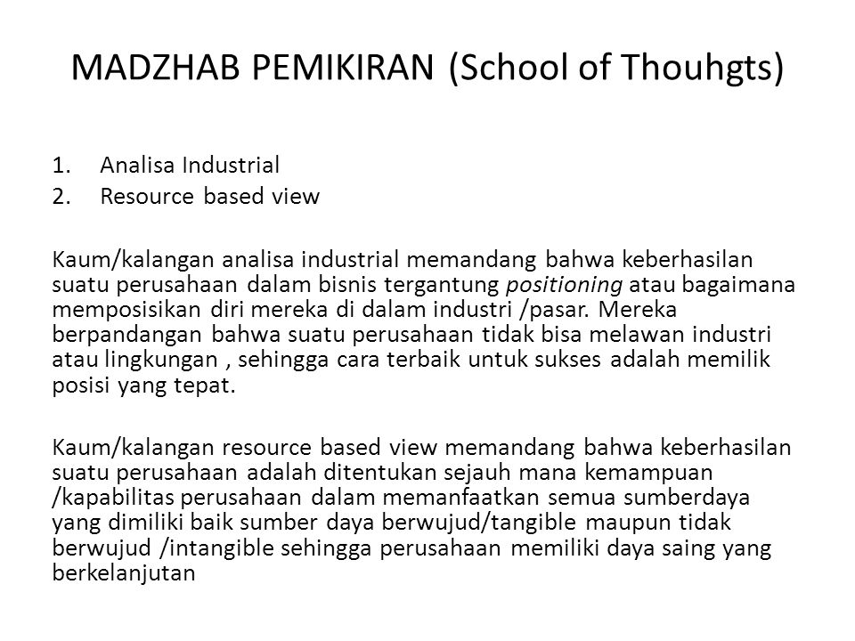 MADZHAB PEMIKIRAN (School of Thouhgts)