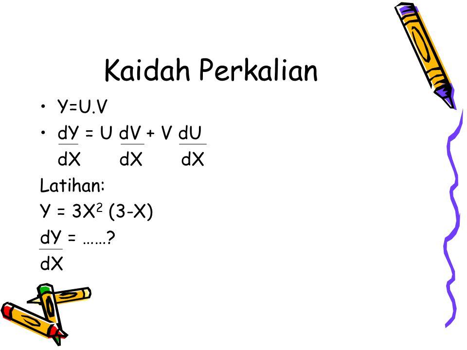 Kaidah Perkalian Y=U.V dY = U dV + V dU dX dX dX Latihan: