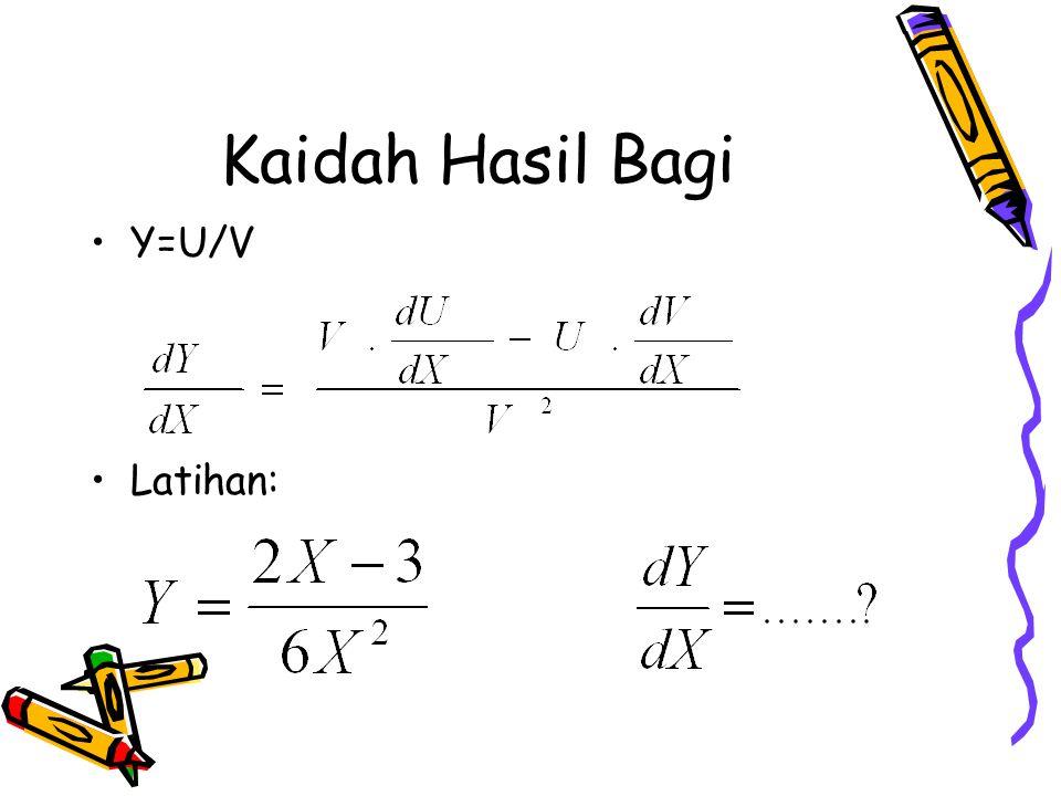 Kaidah Hasil Bagi Y=U/V Latihan:
