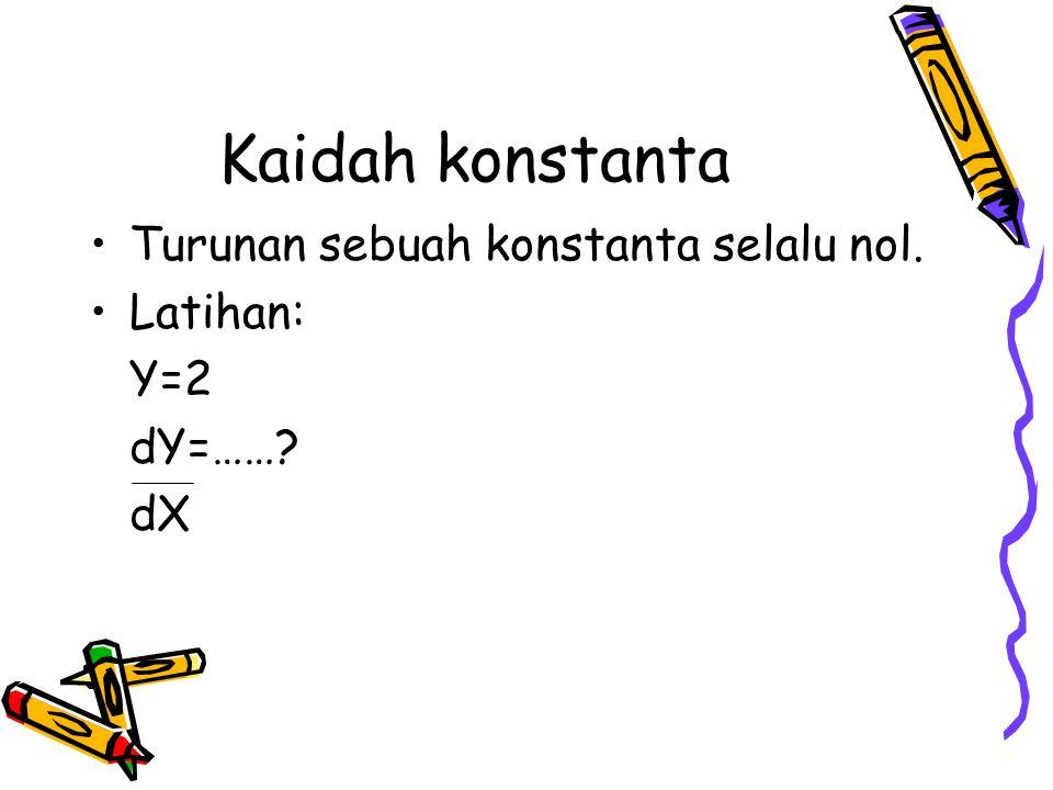 Kaidah konstanta Turunan sebuah konstanta selalu nol. Latihan: Y=2