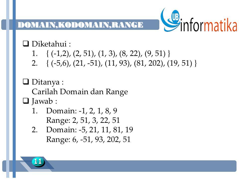 Carilah Domain dan Range Jawab :