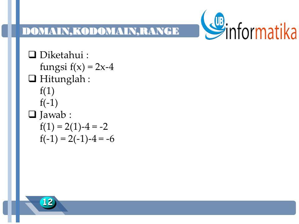 DOMAIN,KODOMAIN,RANGE Diketahui : fungsi f(x) = 2x-4 Hitunglah : f(1)
