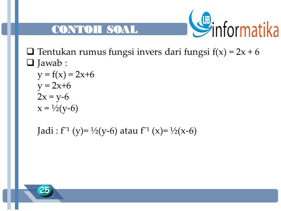 CONTOH SOAL Tentukan rumus fungsi invers dari fungsi f(x) = 2x + 6