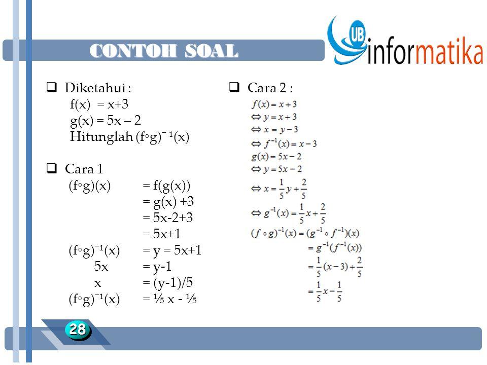 CONTOH SOAL Diketahui : f(x) = x+3 g(x) = 5x – 2 Hitunglah (f◦g)¯ ¹(x)