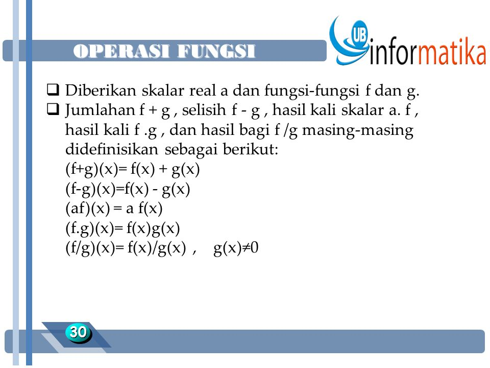 OPERASI FUNGSI Diberikan skalar real a dan fungsi-fungsi f dan g.