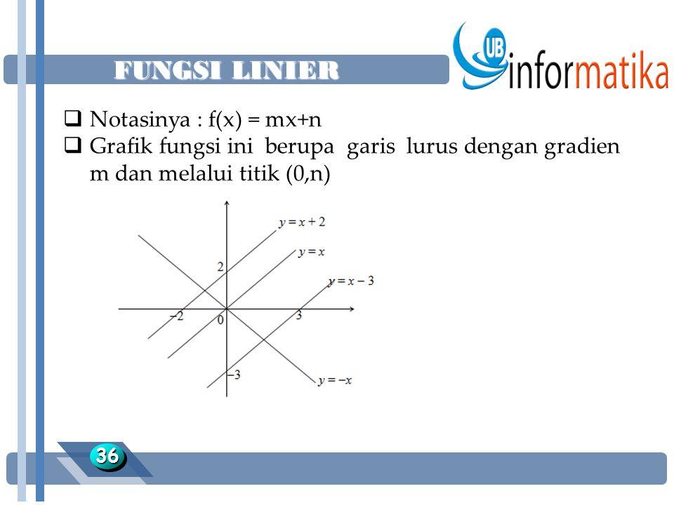 FUNGSI LINIER Notasinya : f(x) = mx+n