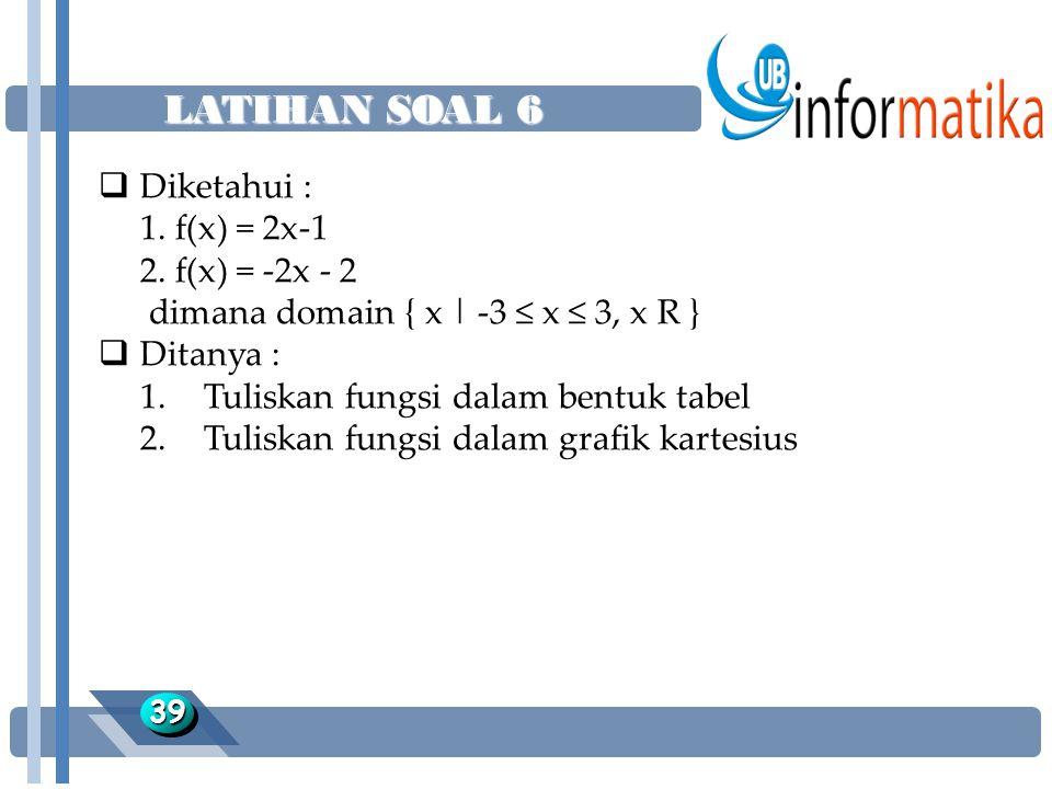 LATIHAN SOAL 6 Diketahui : 1. f(x) = 2x-1 2. f(x) = -2x - 2