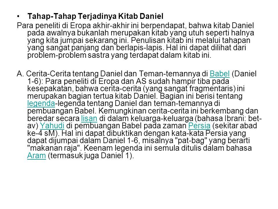 Tahap-Tahap Terjadinya Kitab Daniel