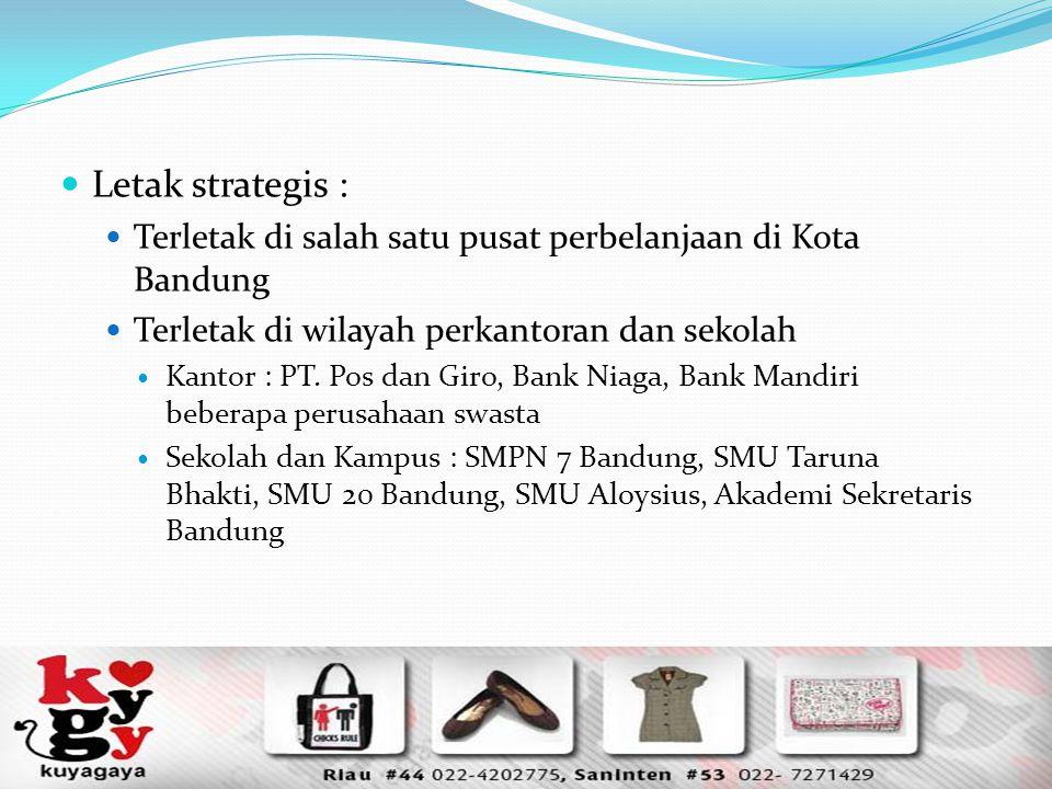 Letak strategis : Terletak di salah satu pusat perbelanjaan di Kota Bandung. Terletak di wilayah perkantoran dan sekolah.