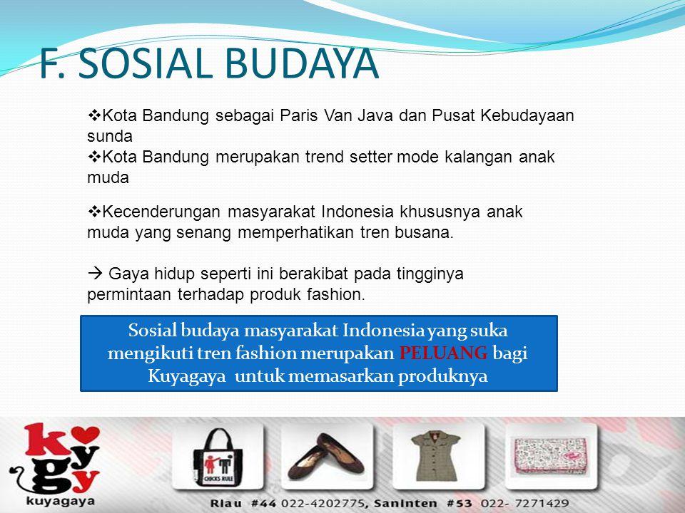 F. SOSIAL BUDAYA Kota Bandung sebagai Paris Van Java dan Pusat Kebudayaan sunda. Kota Bandung merupakan trend setter mode kalangan anak muda.
