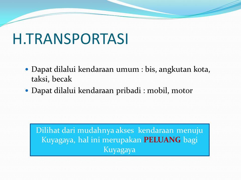 H.TRANSPORTASI Dapat dilalui kendaraan umum : bis, angkutan kota, taksi, becak. Dapat dilalui kendaraan pribadi : mobil, motor.