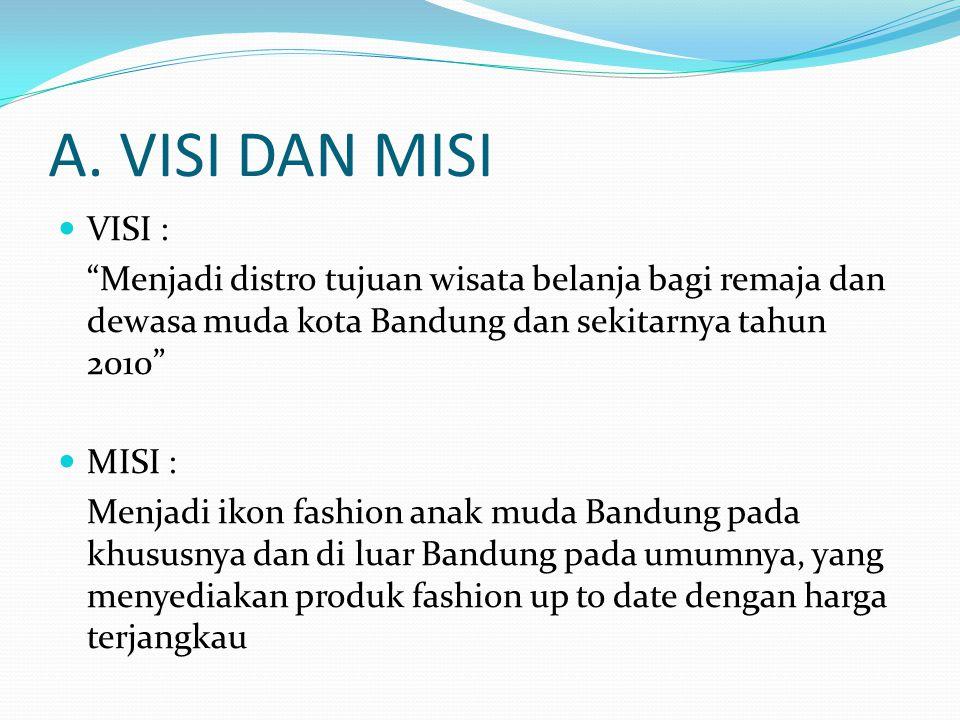 A. VISI DAN MISI VISI : Menjadi distro tujuan wisata belanja bagi remaja dan dewasa muda kota Bandung dan sekitarnya tahun 2010
