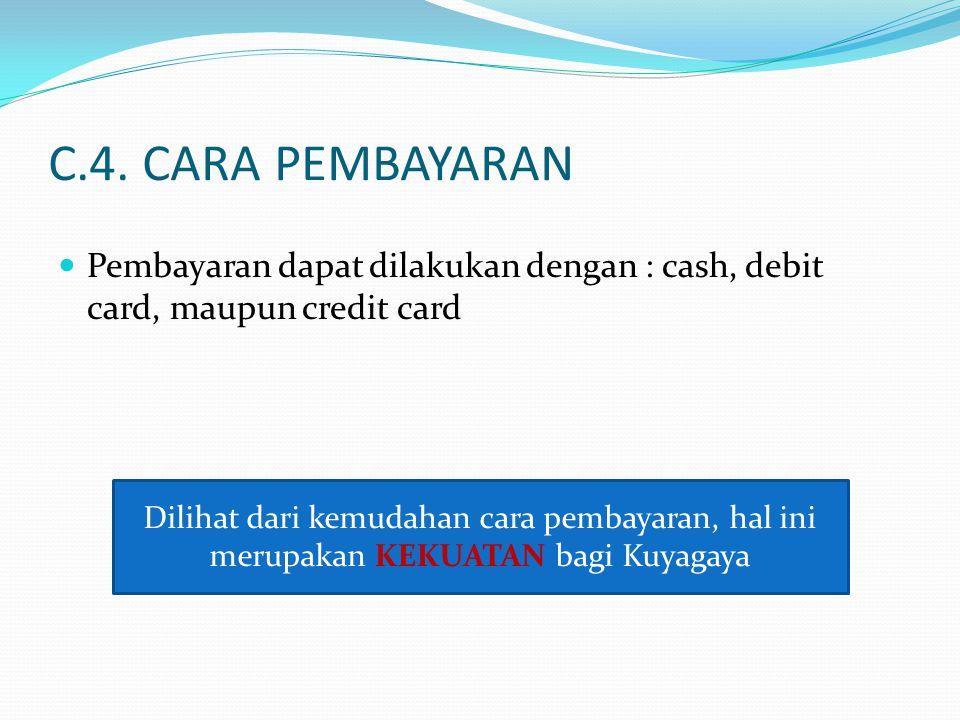 C.4. CARA PEMBAYARAN Pembayaran dapat dilakukan dengan : cash, debit card, maupun credit card.