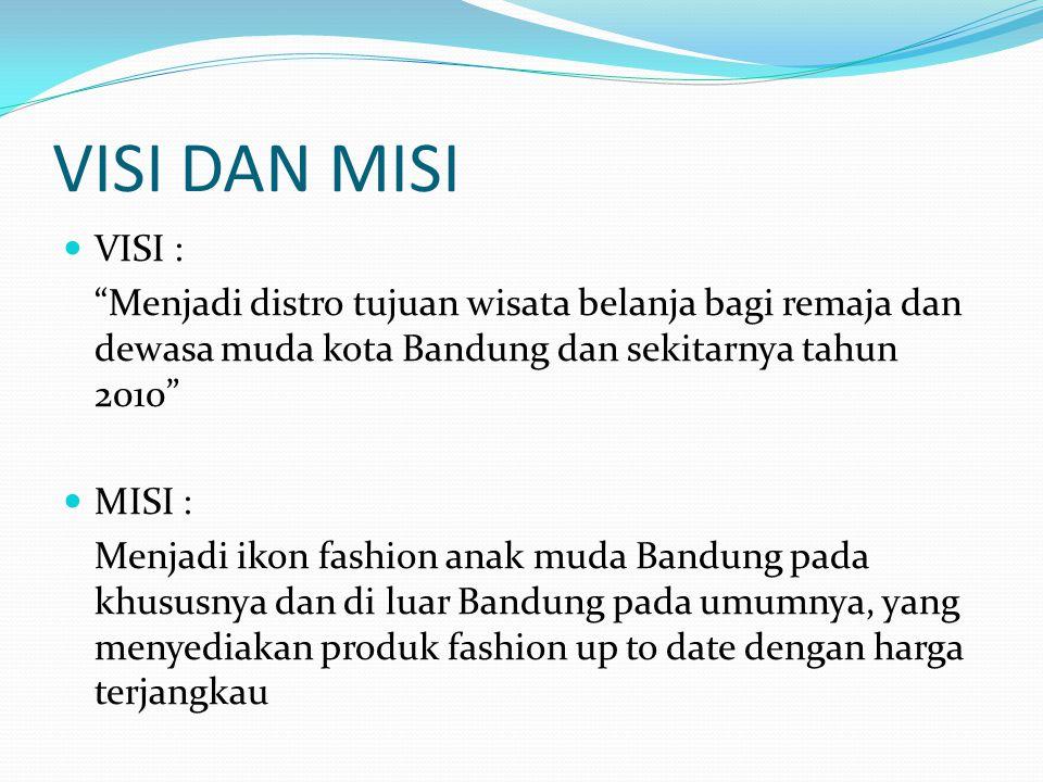 VISI DAN MISI VISI : Menjadi distro tujuan wisata belanja bagi remaja dan dewasa muda kota Bandung dan sekitarnya tahun 2010