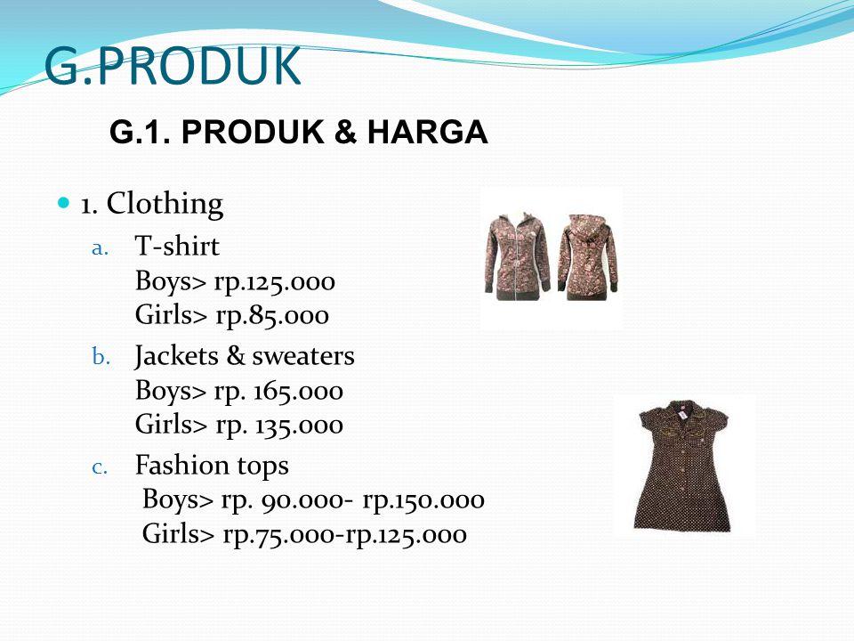 G.PRODUK G.1. PRODUK & HARGA 1. Clothing