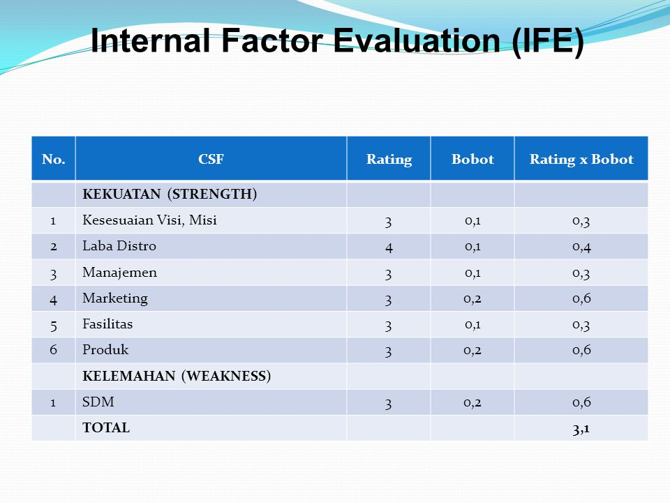 Internal Factor Evaluation (IFE)