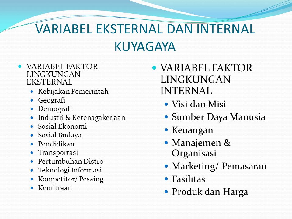 VARIABEL EKSTERNAL DAN INTERNAL KUYAGAYA