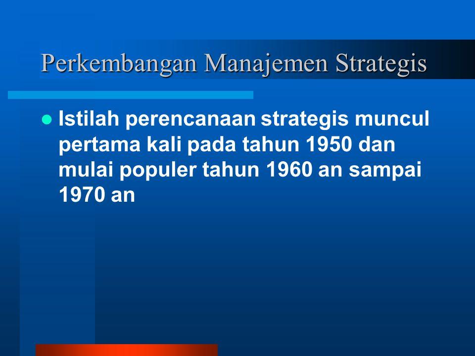Perkembangan Manajemen Strategis