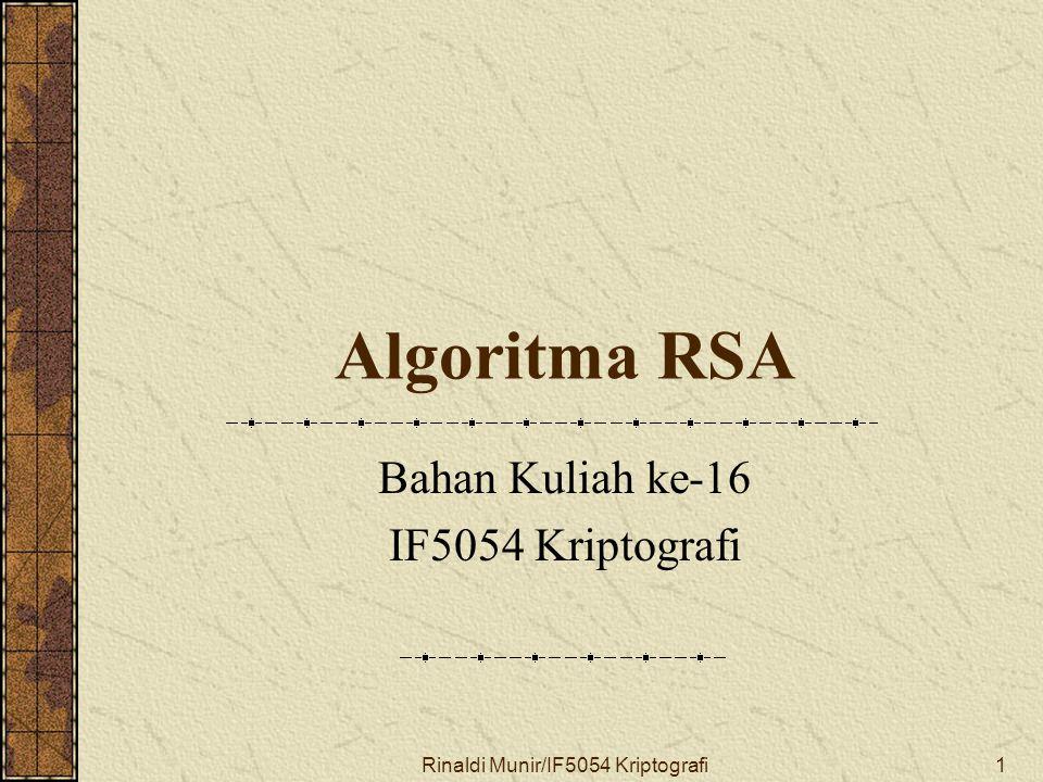 Bahan Kuliah ke-16 IF5054 Kriptografi