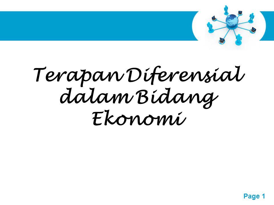 Terapan Diferensial dalam Bidang Ekonomi