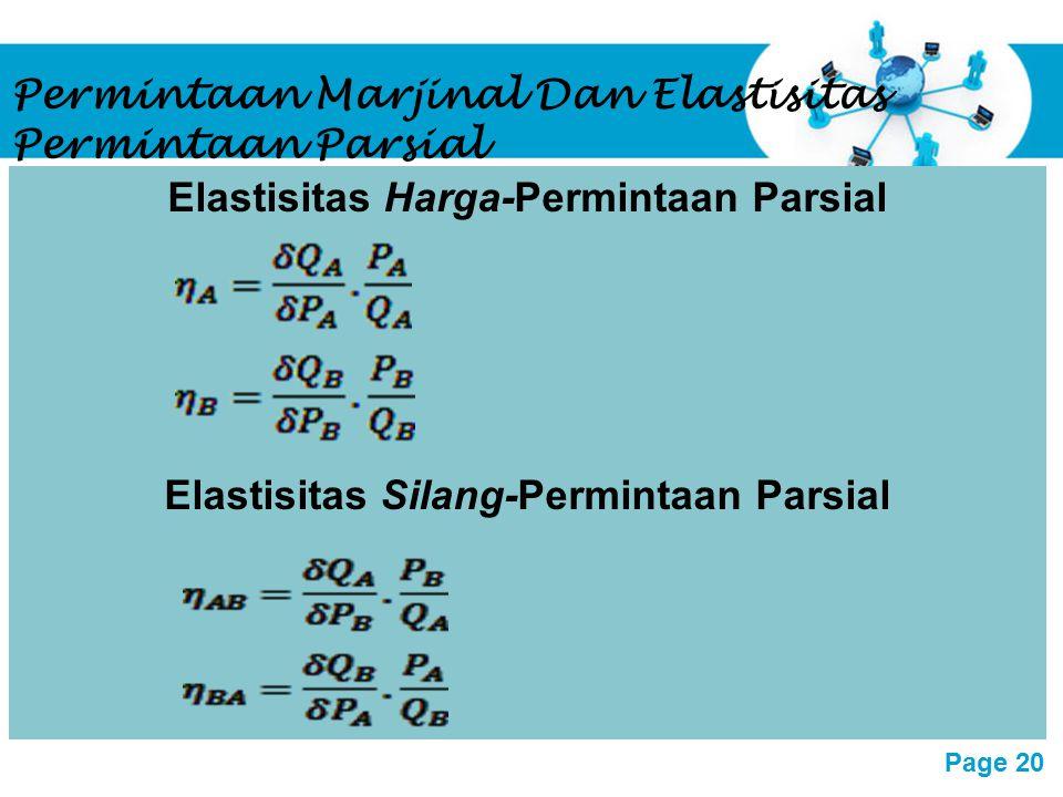 Permintaan Marjinal Dan Elastisitas Permintaan Parsial