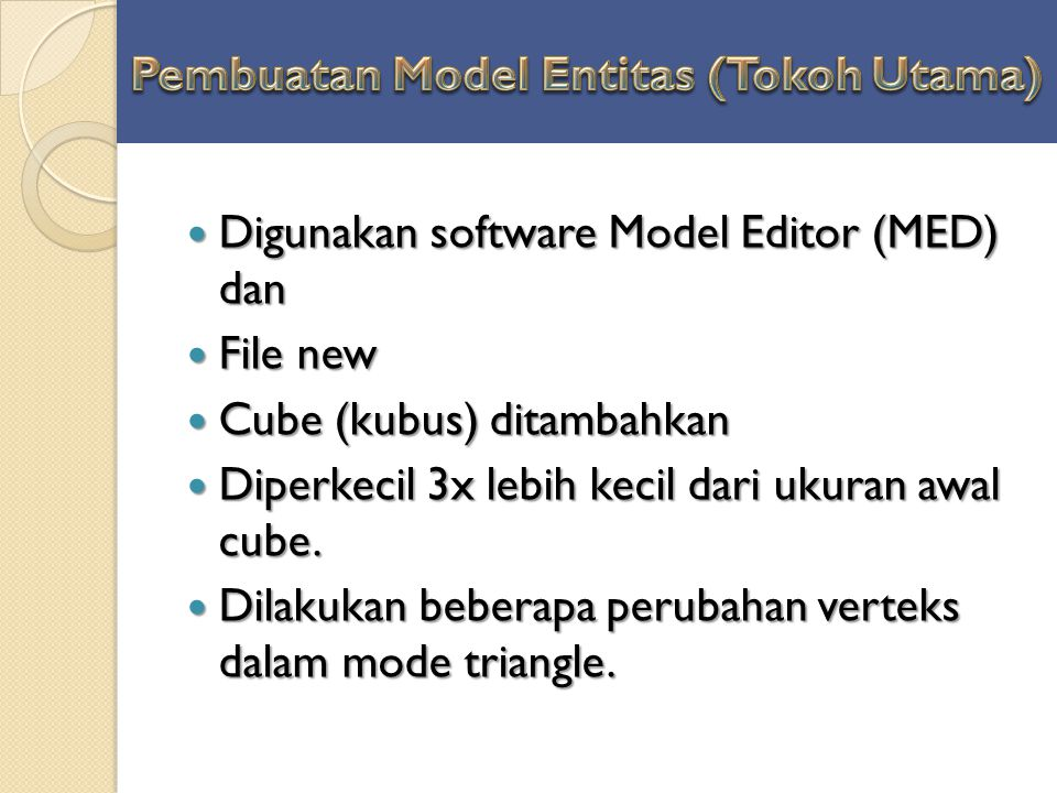 Pembuatan Model Entitas (Tokoh Utama)