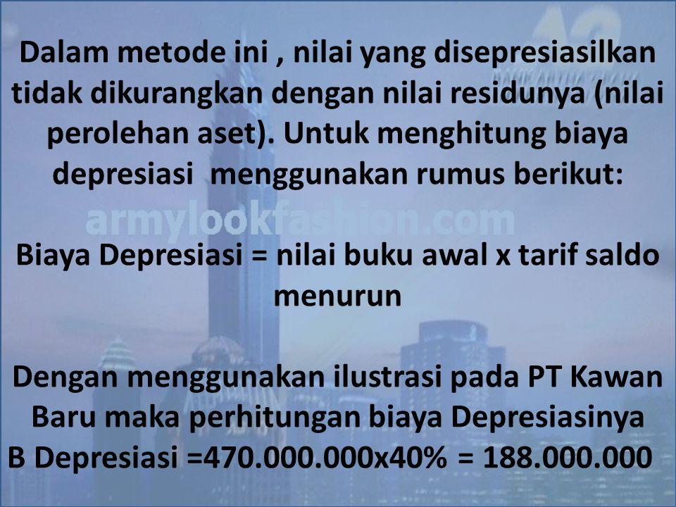 Biaya Depresiasi = nilai buku awal x tarif saldo menurun