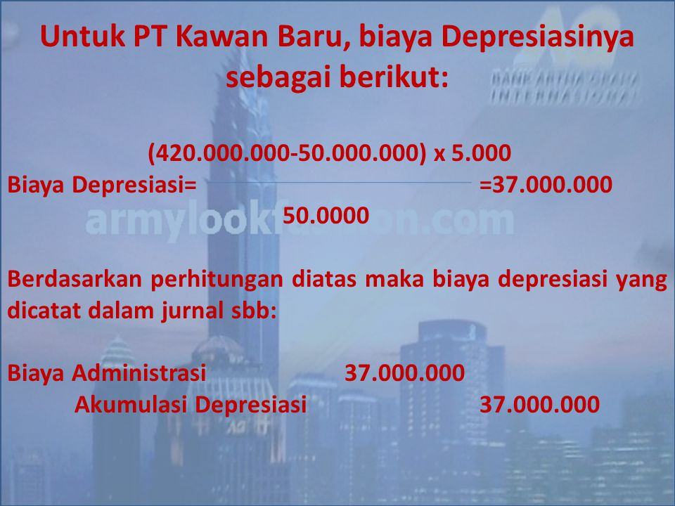 Untuk PT Kawan Baru, biaya Depresiasinya sebagai berikut: