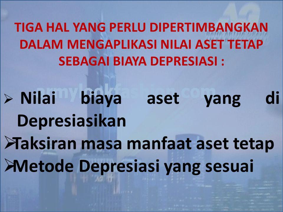 Taksiran masa manfaat aset tetap Metode Depresiasi yang sesuai