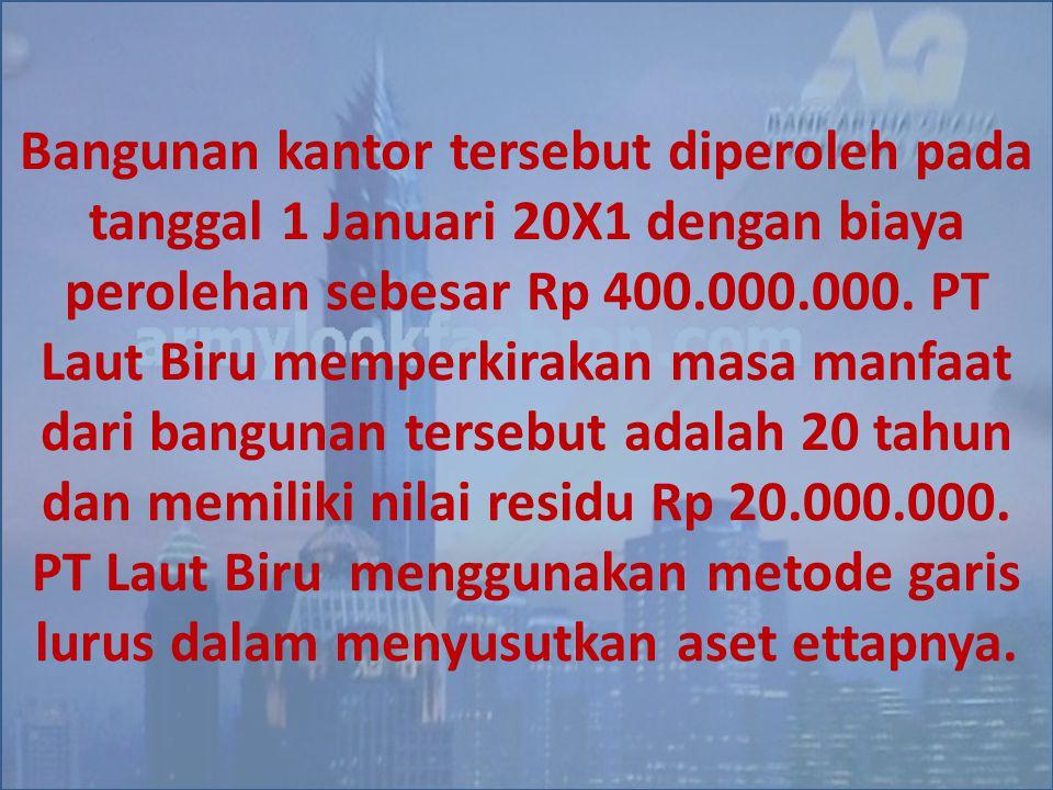 Bangunan kantor tersebut diperoleh pada tanggal 1 Januari 20X1 dengan biaya perolehan sebesar Rp 400.000.000.