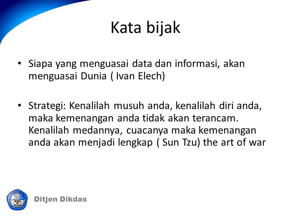 Kata bijak Siapa yang menguasai data dan informasi, akan menguasai Dunia ( Ivan Elech)