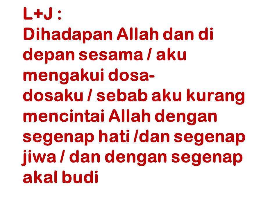 L+J :. Dihadapan Allah dan di depan sesama / aku mengakui dosa-